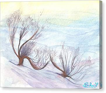 Dancing In The Snow Canvas Print by Sherril Porter