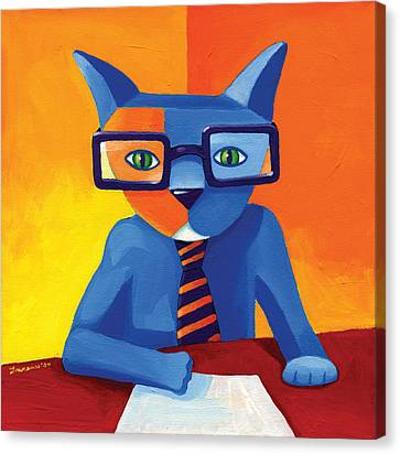 Glass Canvas Print - Business Cat by Mike Lawrence