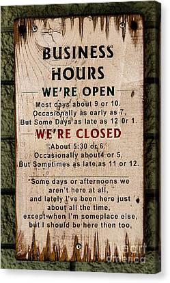 Business Hours Canvas Print by Jon Burch Photography
