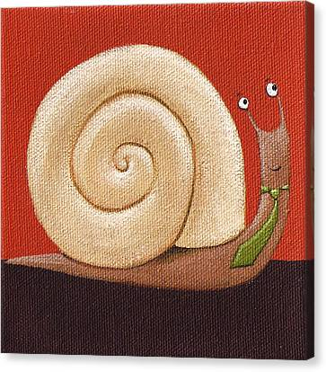 Business Snail Painting Canvas Print by Christy Beckwith