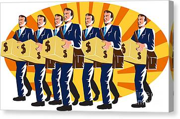 Businessman Banker Worker Carry Money Box Retro Canvas Print by Aloysius Patrimonio