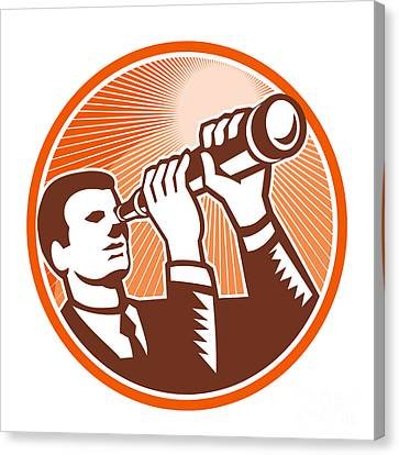 Businessman Holding Looking Telescope Woodcut Canvas Print by Aloysius Patrimonio