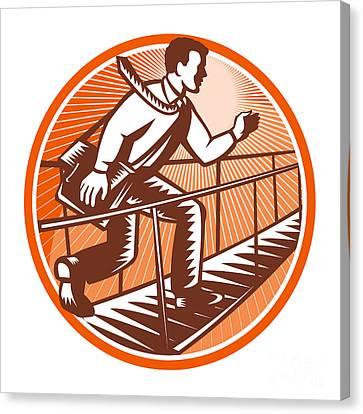 Businessman Satchel Bag Running Bridge Canvas Print by Aloysius Patrimonio