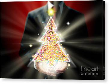 Businessman With Christmas Canvas Print by Atiketta Sangasaeng