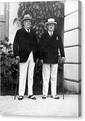 Businessmen In Havana Canvas Print by Underwood Archives
