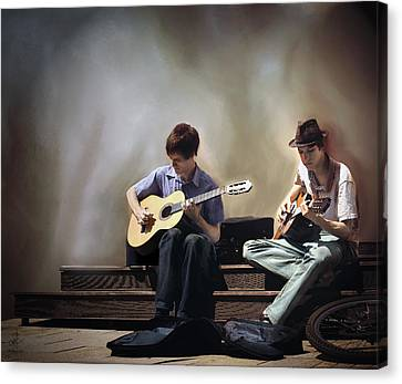 Canvas Print featuring the digital art Buskers by Pennie  McCracken