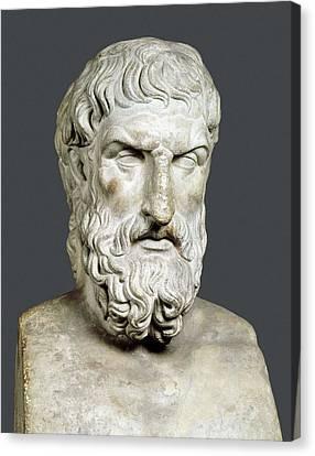 Bust Of Epicurus. 1st Half 4th Bc Canvas Print