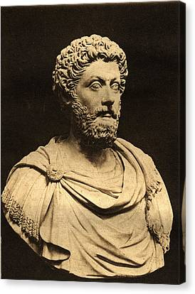 Bust Of Marcus Aurelius 121-80 Ad Marble Canvas Print by English Photographer