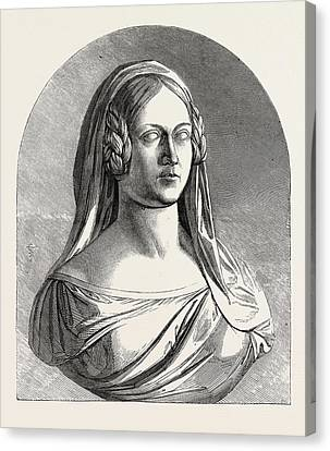 Bust Of The Late Duchess Of Kent Canvas Print by Thornycroft, Mary (n?e Francis) (1814-1895), British