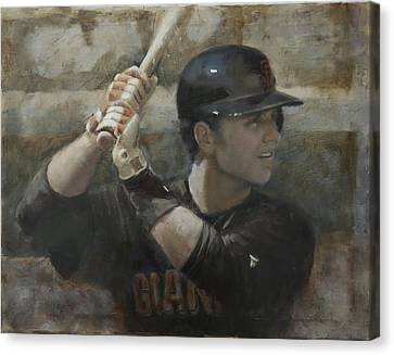 San Francisco Giants Canvas Print - Buster Training by Darren Kerr