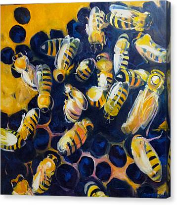 Busy Bees Canvas Print by Rebecca Gottesman