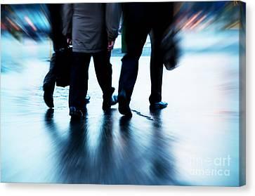 Busy Business People Walking Canvas Print by Michal Bednarek