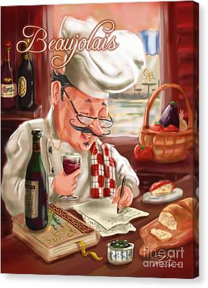Busy Chef With Beaujolais Canvas Print by Shari Warren