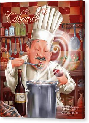 Busy Chef With Cabernet Canvas Print by Shari Warren