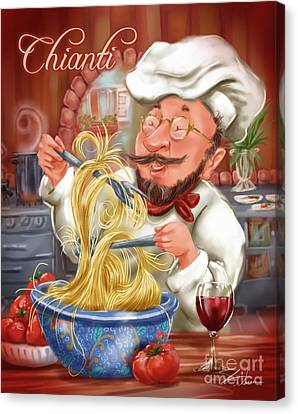 Busy Chef With Chianti Canvas Print by Shari Warren