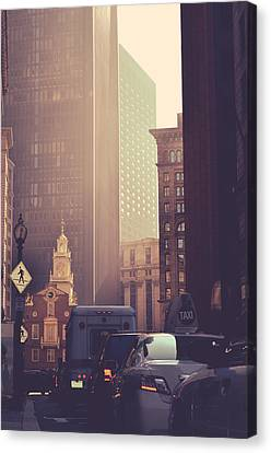 Crosswalk Canvas Print - Busy Downtown Boston Usa by Mr Doomits