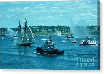 Busy Halifax Harbor During The Parade Of Sails Canvas Print by John Malone