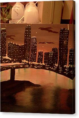 Landscape. Of City At Night And A Bridge Canvas Print - Busy Ness by Renee McKnight