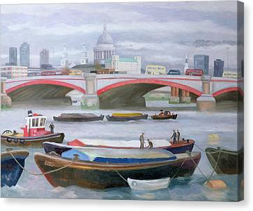 City Of Bridges Canvas Print - Busy Scene At Blackfriars by Terry Scales