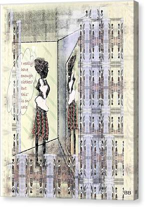 Dressing Room Canvas Print - But This Is On Sale by Lorna Bush