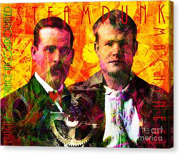 Butch And Sundance Incorporated Steampunk Machines Patent Pending 20140512 With Text Canvas Print