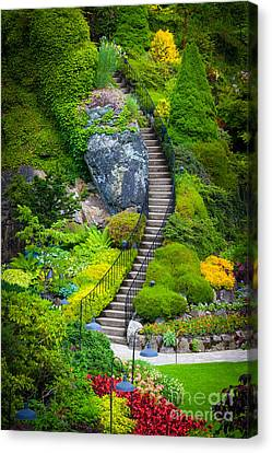 Vancouver Island Canvas Print - Butchart Gardens Stairs by Inge Johnsson