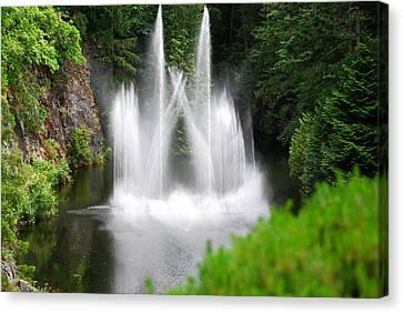 Butchart Gardens Waterfalls Canvas Print by Lisa Phillips