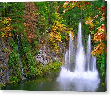 Butchart Waterfall And Fountain-- Canvas Print