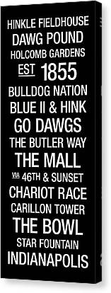 Word Art Canvas Print - Butler College Town Wall Art by Replay Photos