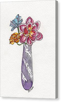 Canvas Print featuring the painting Butter Knife Vase With Flowers by Julie Maas