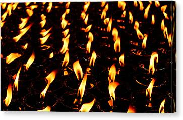 Butter Lamps In Bodhgaya Canvas Print by Greg Holden