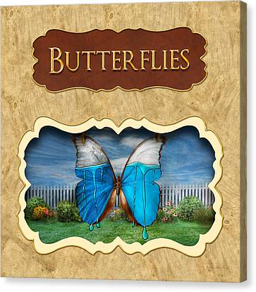 Butterflies Button Canvas Print by Mike Savad