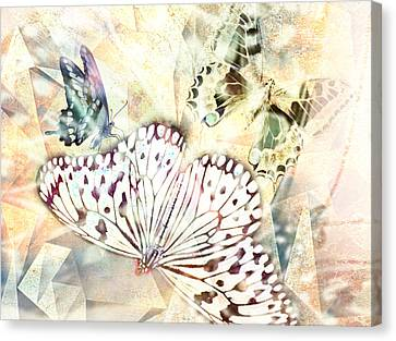 Butterflies Geometric 4 Canvas Print by Lynda Payton