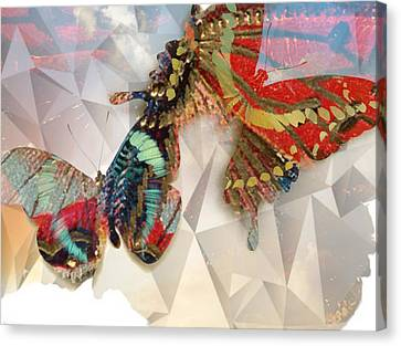 Butterflies Geometric Canvas Print by Lynda Payton