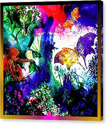 Canvas Print featuring the mixed media Butterflies by Hartmut Jager