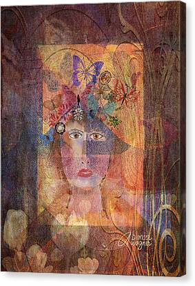 Butterflies In Her Hair Canvas Print by Arline Wagner