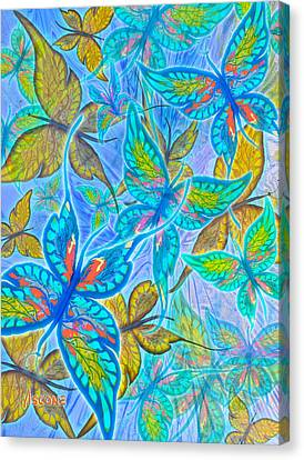 Canvas Print featuring the mixed media Butterflies On Blue by Teresa Ascone