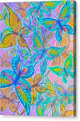 Canvas Print featuring the mixed media Butterflies On Lilac by Teresa Ascone