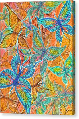 Canvas Print featuring the painting Butterflies On Tangerine by Teresa Ascone