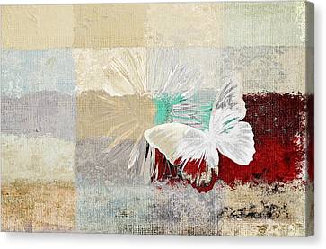 Butterfly And Daisy - 140109109w1t2a Canvas Print by Variance Collections