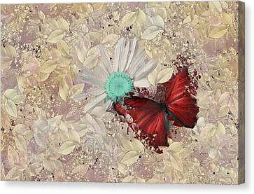 Butterfly And Daisy - S3001a Canvas Print by Variance Collections