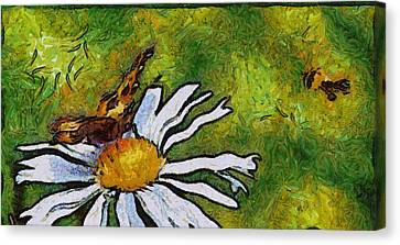 Canvas Print featuring the painting Butterfly And Flower by Georgi Dimitrov