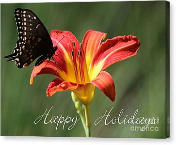 Butterfly And Lily Holiday Card Canvas Print by Sabrina L Ryan