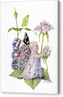 Canvas Print featuring the drawing Butterfly Baby by Laurianna Taylor