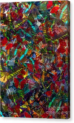 Butterfly Collage Red Canvas Print by Robert Meanor