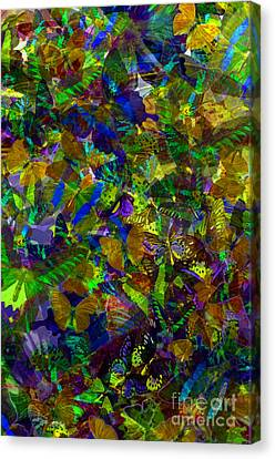 Butterfly Collage Yellow Canvas Print by Robert Meanor
