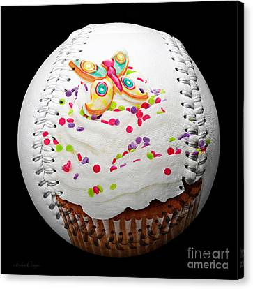 Butterfly Cupcake Baseball Square Canvas Print by Andee Design
