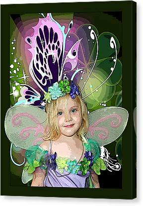 Flower Pink Fairy Child Canvas Print - Butterfly Fairy by Ellen Henneke