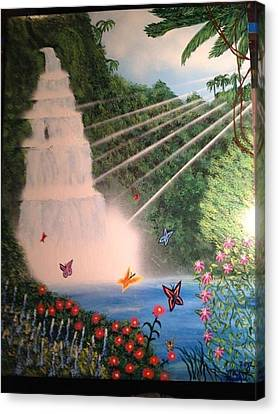 Canvas Print featuring the painting Butterfly Falls by Michael Rucker