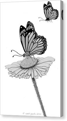 Canvas Print featuring the digital art Butterfly Friends by Carol Jacobs